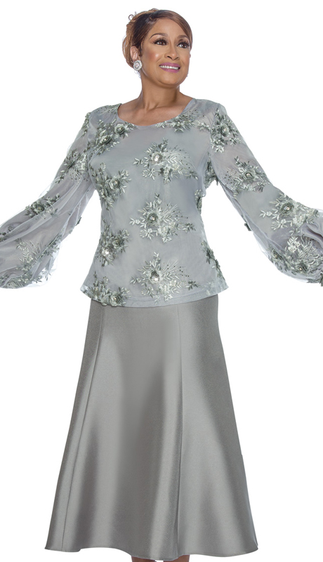 Dorinda Clark Cole 3152 ( 2pc  Novelty With Silk Look Womens Church Suit With Embellished Applique Top )