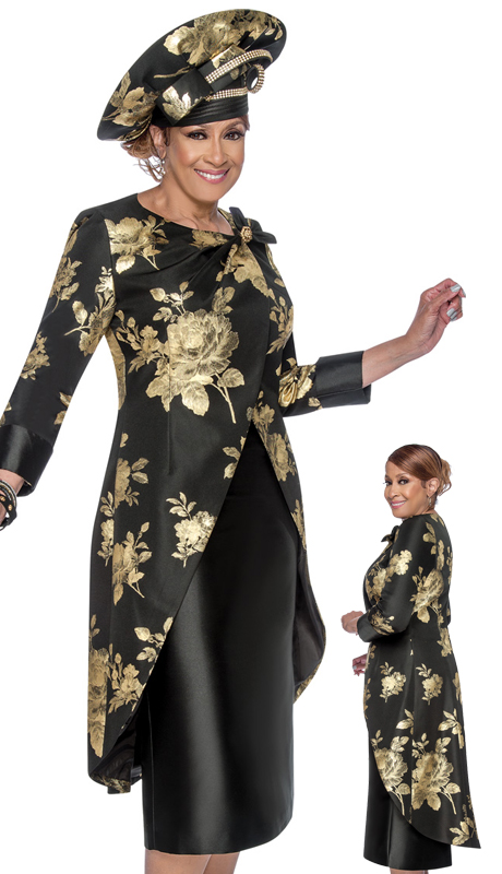 Dorinda Clark Cole 3162 ( 2pc Womens Church Suit With Elegant, Asymmetrical High Low Jacket, Stunning Pattern, And Detachable Brooch )-Hat