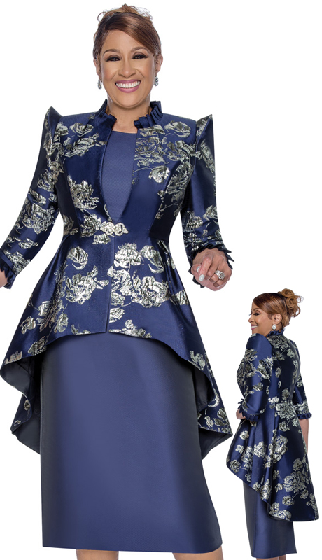 Dorinda Clark Cole 2622-N ( 2pc Satin With Brocade Dress With Cap Sleeves, Pattern Jacket And High-Low Hem )