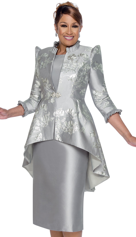 Dorinda Clark Cole 2622-S ( 2pc Satin With Brocade Dress With Cap Sleeves, Pattern Jacket And High-Low Hem )