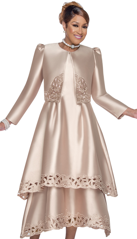 Dorinda Clark Cole 2802-T ( 2pc Silk Look Ladies Sunday Dress With Elegant Tiered Design And Beautiful Lace Laser Cut Out Design )