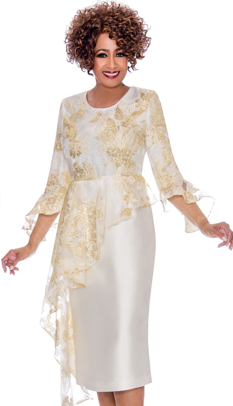 Dorinda Clark Cole 2331-IG-CO ( 1pc Organza With Satin Womens Dress, Gold Brocade Floral Pattern Top With Cascading Ruffle Peplum )