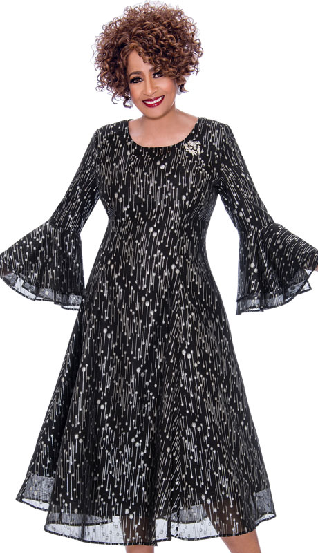Dorinda Clark Cole 2261-BS ( 1pc Georgette With Jacquard Womens Church Dress In Striking Design with Flared Sleeves And Jeweled Brooch )