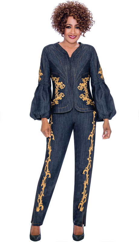 Dorinda Clark Cole 2322-NA ( 2pc Denim Pantsuit, Brocade Trim, Zip Jacket And Puff Sleeves )