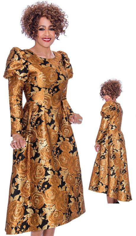 Dorinda Clark Cole 2161-CO ( 1pc Brocade Women Pattern Dress With Puff Shoulders )