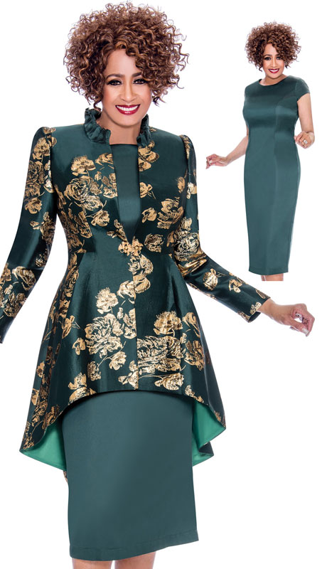 Dorinda Clark Cole 2242-GN-CO ( 2pc Satin With Brocade Dress With Cap Sleeves, Pattern Jacket And High-Low Hem )