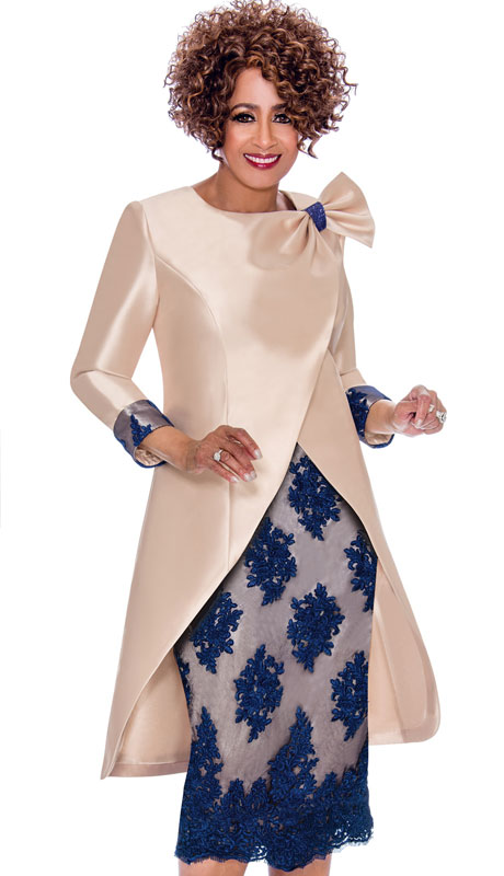 Dorinda Clark Cole 2292-CR-IH ( 2pc Silk Look With Lace Dress, Double Breasted Jacket With Ornate Bow And Roll Up Cuffs )