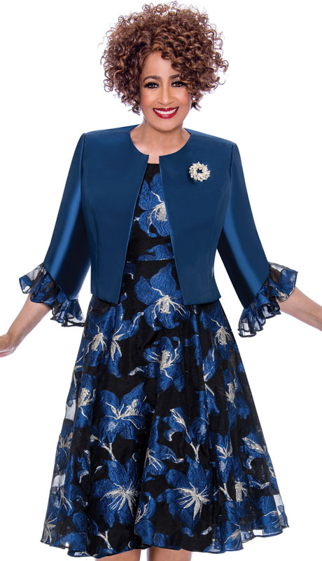 Dorinda Clark Cole 1962-NA-CO ( 2pc Silk Look With Organza Dress In Striking Pattern And Ruffled Trim )