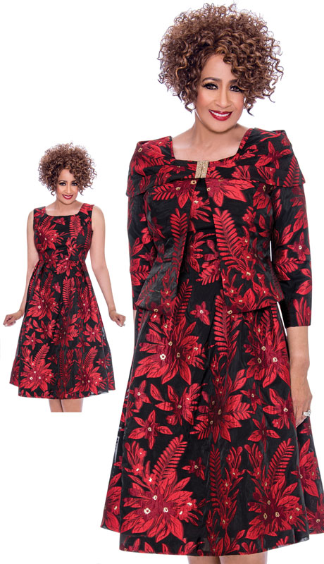 Dorinda Clark Cole 2142-RE ( 2pc Novelty Womens Dress With Floral Embroidery, Wrap Around Shawl Collar And Jeweled Clasp )