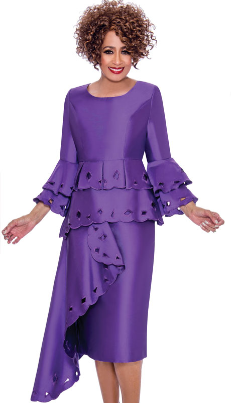 Dorinda Clark Cole 2311-PU ( 1pc Womens Silk Look Church Dress With Cut-Out Pattern, Layered Flounce Sleeve And Cascading Ruffle )