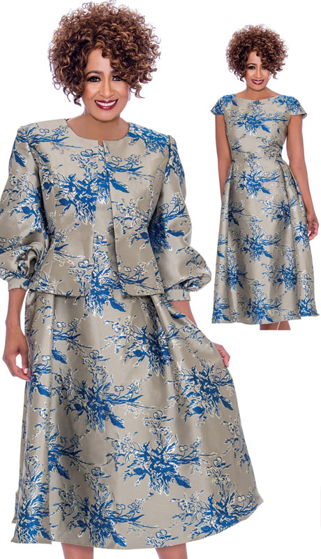 Dorinda Clark Cole 2252-SI-IH ( 2pc Novelty Dress With Ornate Pattern, Cap Shoulders With Collarless Jacket And Puffed Sleeves)