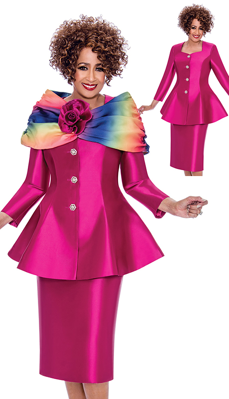 Dorinda Clark Cole 2443-FU ( 3pc Womens Silk Look Suit With Peplum Jacket And Sweetheart Neckline Plus Jeweled Buttons And Detachable Portrait Rainbow Shawl Collar With Rose Clasp )