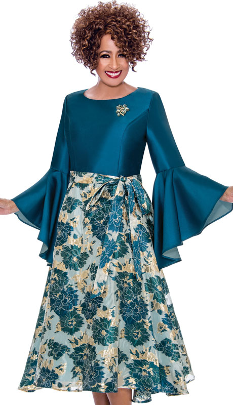Dorinda Clark Cole 2221-TE ( 1pc Silk Look With Organza Dress, Tie Waist, Solid Satin Top With Flared Sleeves And Jeweled Brooch )