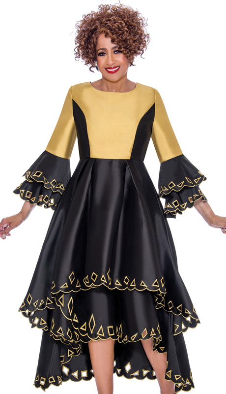 Dorinda Clark Cole 1431-BG-IH ( 1pc Womens Silk Look Church Dress With Cut-Out Pattern, Pleated Waist, Layered Flounce Sleeve And High Low Scalloped Hem )