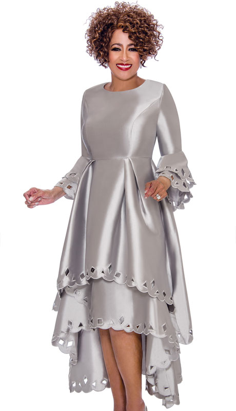 Dorinda Clark Cole 1431-SI ( 1pc Womens Silk Look Church Dress With Cut-Out Pattern, Pleated Waist, Layered Flounce Sleeve And High Low Scalloped Hem )