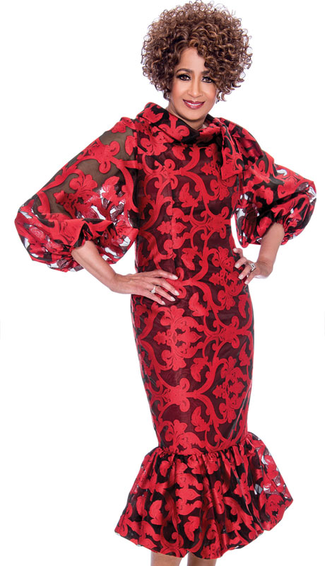 Dorinda Clark Cole 2351-RE-CO ( 1pc Brocade With Organza Dress, Ruffle Flare Hem, Puffed Sleeves And Standing Neckline )
