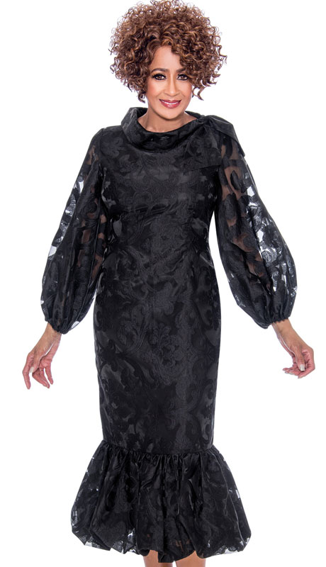 Dorinda Clark Cole 2351-BK ( 1pc Brocade With Organza Church Dress, Ruffle Flare Hem, Puffed Sleeves And Standing Neckline )