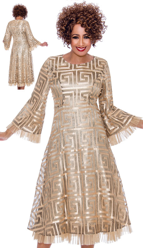 Dorinda Clark Cole 2171-CH-IH ( 1pc Womans Dress With Grecco Roman Pattern And Ruffled Organza Trim )