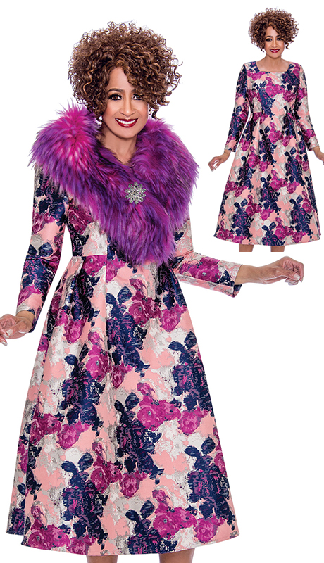 Dorinda Clark Cole 2212-AS ( 1pc Womens Abstract Print Dress With Detachable Fur Collar Wrap And Jeweled Brooch )