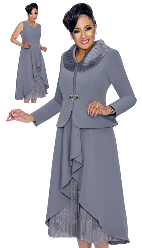 Dorinda Clark Cole 1852-CH ( 2pc Ladies Church Dress With High Low Hem And Pleated Organza, Jacket With Wide Collar And Rhinestone Buckle )