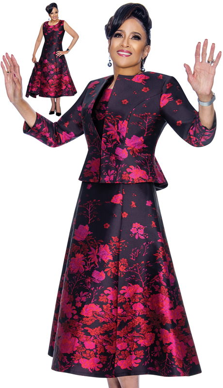 Dorinda Clark Cole 1842-NM ( 2pc Novelty Ladies Flare Dress In Floral Brocade )