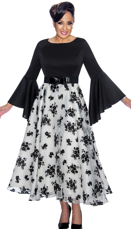 Dorinda Clark Cole 1831-BW-IH ( 1pc Womens Dress With High Low Flounce Sleeves, Floral Patterned Organza Overlay, Pleated Waist And Belt With Bow )