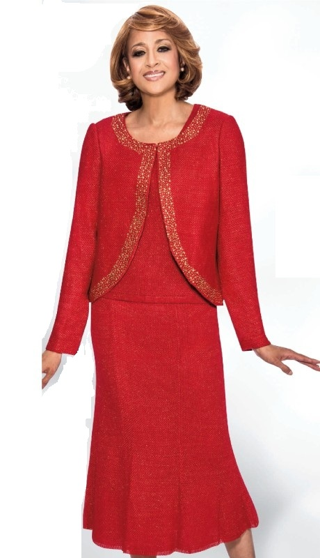 Dorinda Clark Cole 1263-RE ( 2pc Knit Designer Church Suit With Rhinestone Trim Jacket, Cami And Panelled Flare Skirt )