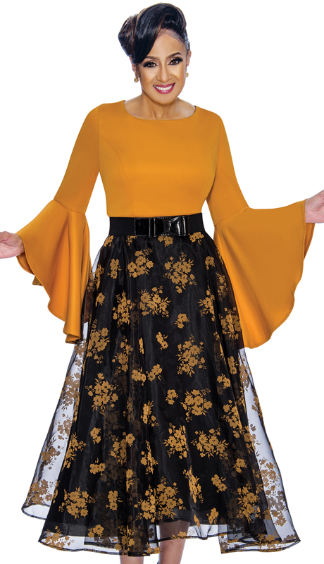 Dorinda Clark Cole 1831-BG-IH ( 1pc Womens Dress With High Low Flounce Sleeves, Floral Patterned Organza Overlay, Pleated Waist And Belt With Bow )