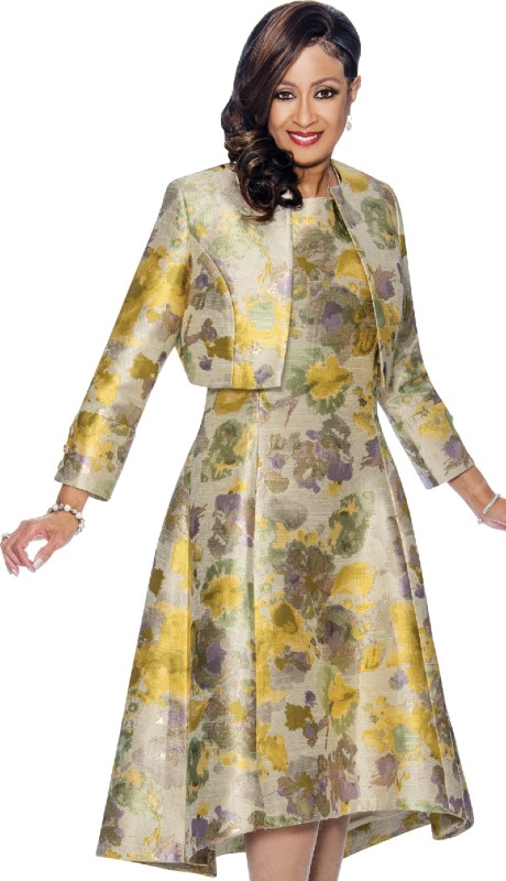 Dorinda Clark Cole 1362 YEL ( 2pc Printed A-Line Dress & Bolero Style Jacket )
