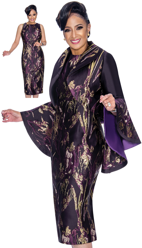 Dorinda Clark Cole 1822-PG ( 2pc Ladies Church Dress In Floral Brocade With High-Low Flounce Sleeves And Bolero Jacket )