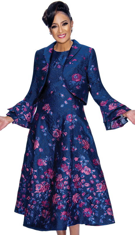 Dorinda Clark Cole 1812-RF ( 2pc Womens Dress In Floral Textured Jacquard Fabric, Fit And Layered Flounce Sleeve )