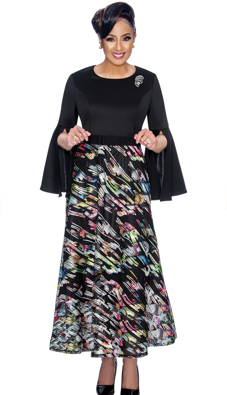 Dorinda Clark Cole 1801-MU ( 1pc Womens Church Dress With Slit Bell Sleeves, Sheer Soutache Lace And Rhinestone Brooch )
