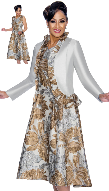 Dorinda Clark Cole 1792-SG ( 2pc Womens Church Dress In Brocade With Silver and Gold Floral Pattern, V-Neck And Ruffled Trim Jacket )