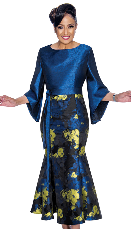 Dorinda Clark Cole 1781-NL ( 1pc Womens Shimmer Shantung Dress In Floral Pattern With Bell Sleeves, Sash And Mermaid Hem )