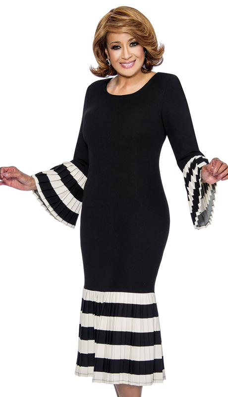 Dorinda Clark Cole 821-BW ( 1pc Womens Dress With Scoop Neck, Flounce Sleeve And Bold Striped Pleated Ruffle )