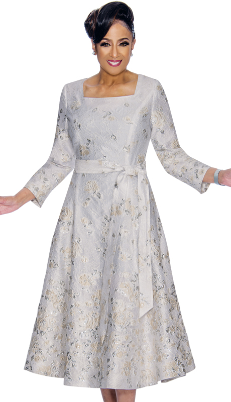 Dorinda Clark Cole 1761-SI ( 1pc Womens Dress In Floral Brocade, Square Neckline And Sash )