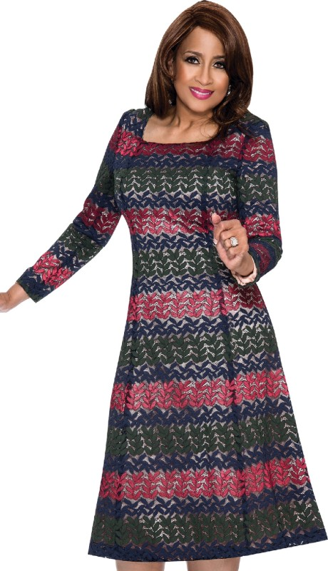 Dorinda Clark Cole 201 ( 1pc Novelty With Lace And Leaf Pattern Ladies Church Dress )