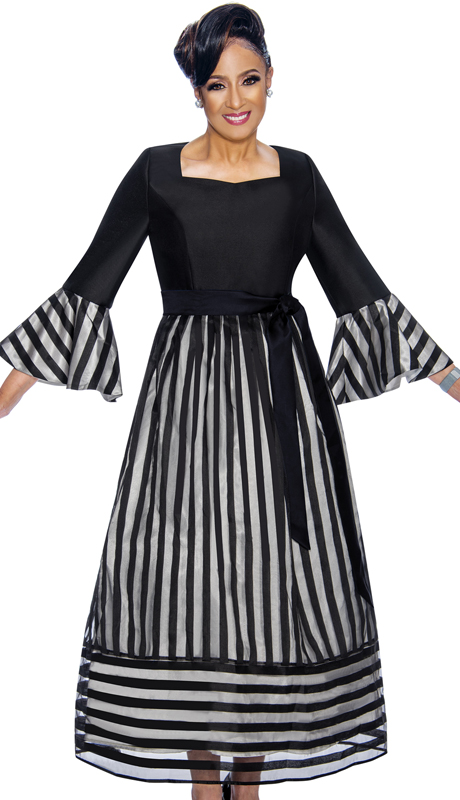 Dorinda Clark Cole 1741-BW ( 1pc Womens Church Dress With Striped Organza Overlay, Flounce Sleeves And Fabric Sash )