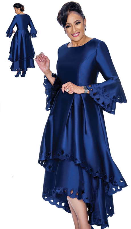 Dorinda Clark Cole 1431-NA-IH ( 1pc Womens Silk Look Church Dress With Cut-Out Pattern, Pleated Waist, Layered Flounce Sleeve And High Low Scalloped Hem )