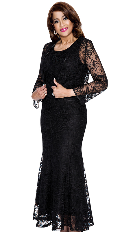 Dorinda Clark Cole 142-BK  ( 2pc Womens Lace Dress For Church )
