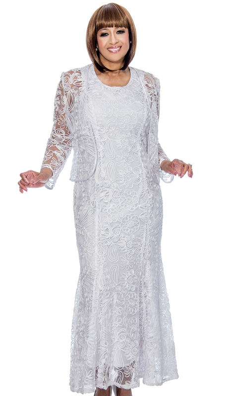 Dorinda Clark Cole 142-WH-CO ( 2pc Lace Womens Long Dress With Floral Pattern And Jacket )
