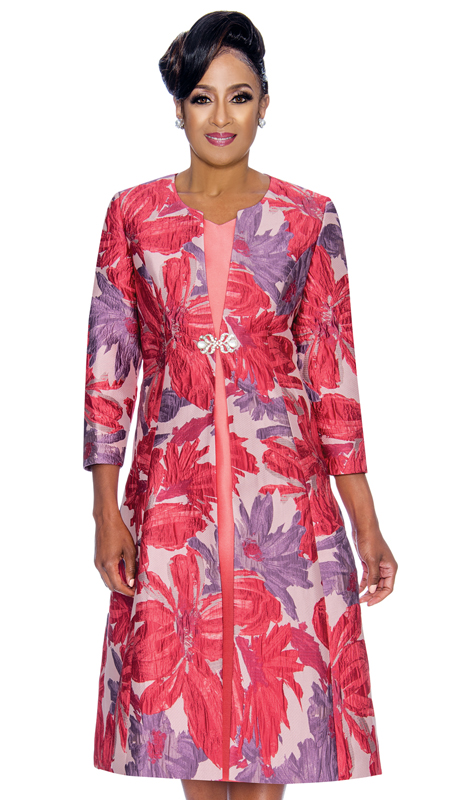 Dorinda Clark Cole 1322-VI-CO ( 2pc Womens Jacket Dress In Floral Patterned Textured Jacquard And Rhinestone Brooch )