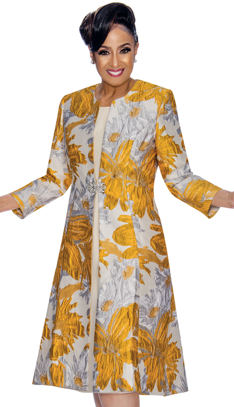 Dorinda Clark Cole 1322-GS-IH ( 2pc Womens Jacket Dress In Floral Patterned Textured Jacquard And Rhinestone Brooch ) - IMRS