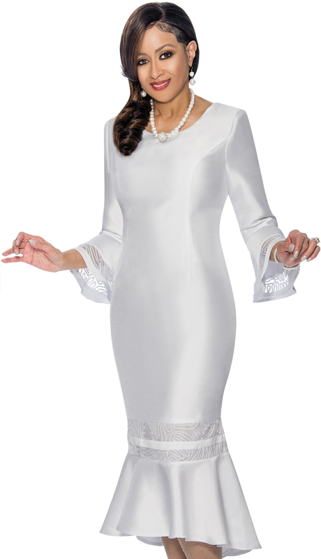 Dorinda Clark Cole 1161-WH ( 1pc Silk Look Womens Dress With Flounce Hem And Cut Out Cuff Design )
