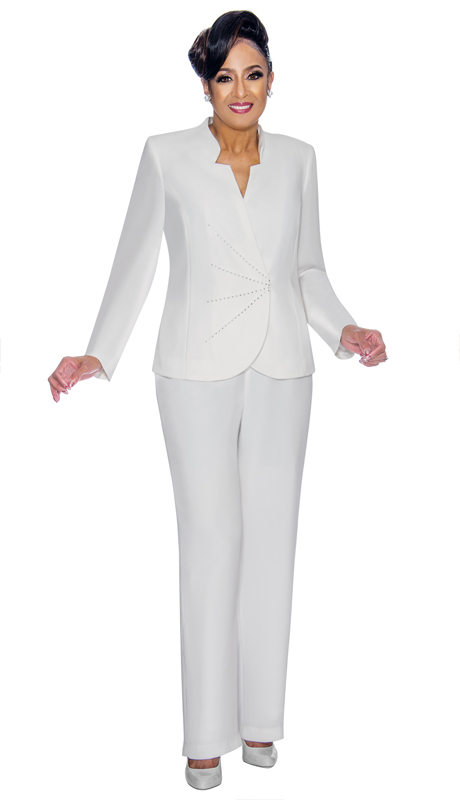 Dorinda Clark Cole 1912-WH ( 2pc Womens Peachskin Pant Suit, Rhinestone Trim And Star-Cut Neckline On Jacket With Pants )