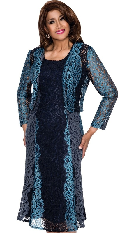 Dorinda Clark Cole 312-IH ( 2pc Lace Women Church  Dress With Lace )