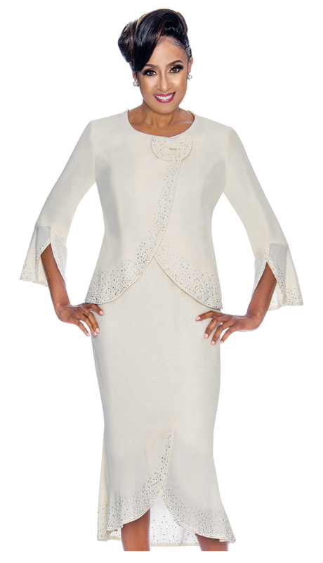 Dorinda Clark Cole 1892-WH ( 1pc Womens Knit Church Dress In Knit With Cross-Over Jacket, Bow Detail And Rhinestone Trim )