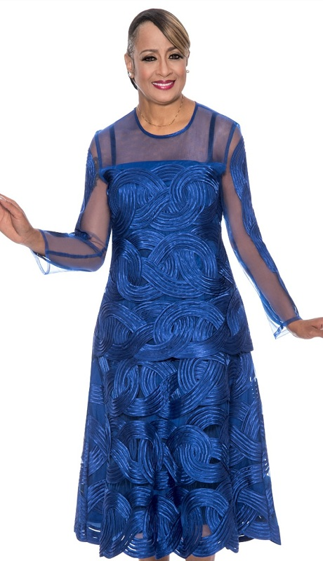 Dorinda Clark Cole 622-ROY ( 2pc Mesh With Ribbon Swirl Womens Dress With Top )