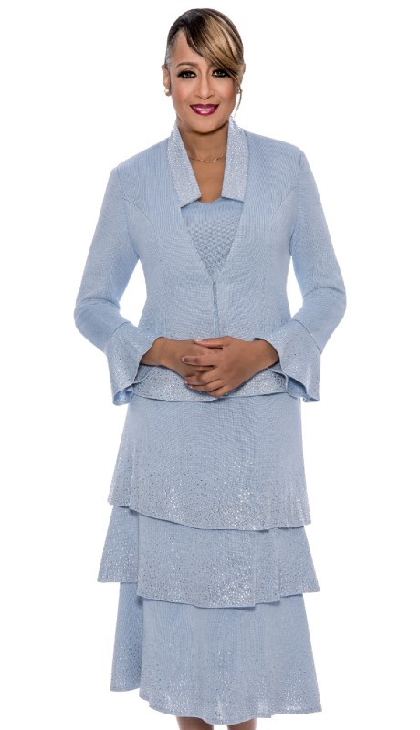 Dorinda Clark Cole 633-BLU ( 3pc Knit Womens Church Suit With Rhinestone embellished Jacket With Cami And Layered Skirt )