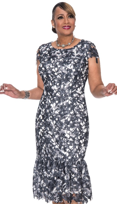 Dorinda Clark Cole 651-BLK ( 1pc Jacquard Ladies Church Dress With Cut-Out Flower Pattern And Pleated Trumpet Hem )